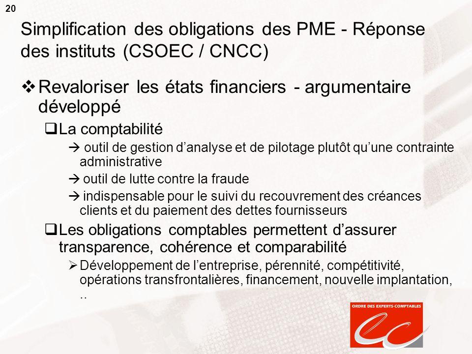 20 Simplification des obligations des PME - Réponse des instituts (CSOEC / CNCC) Revaloriser les états financiers - argumentaire développé La comptabi