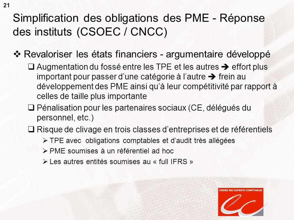 21 Simplification des obligations des PME - Réponse des instituts (CSOEC / CNCC) Revaloriser les états financiers - argumentaire développé Augmentatio