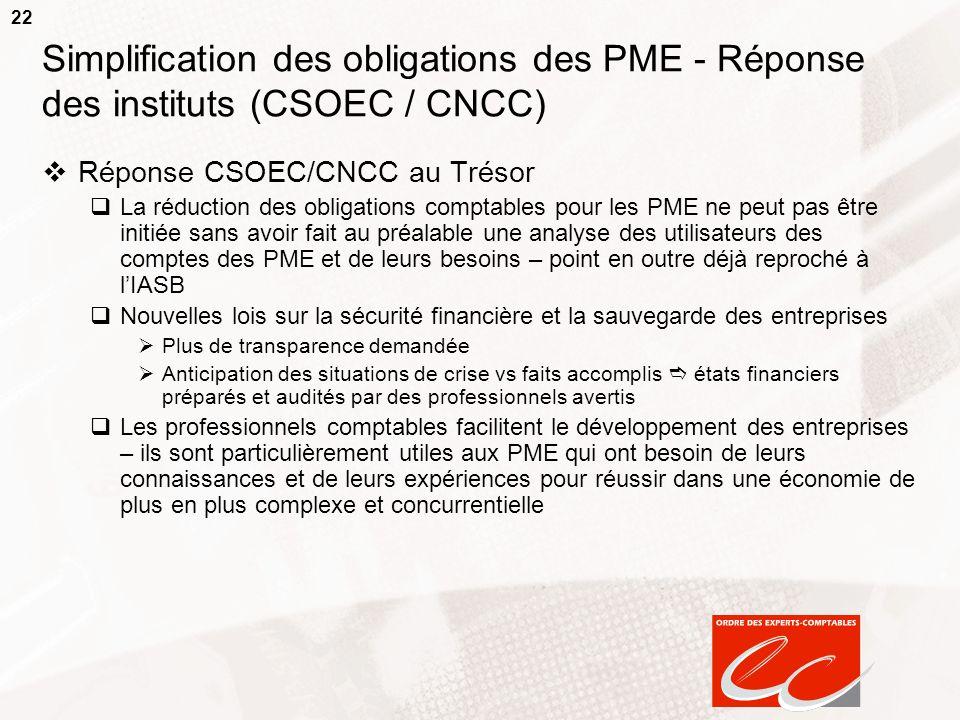 22 Simplification des obligations des PME - Réponse des instituts (CSOEC / CNCC) Réponse CSOEC/CNCC au Trésor La réduction des obligations comptables