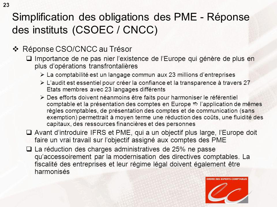 23 Simplification des obligations des PME - Réponse des instituts (CSOEC / CNCC) Réponse CSO/CNCC au Trésor Importance de ne pas nier lexistence de lE