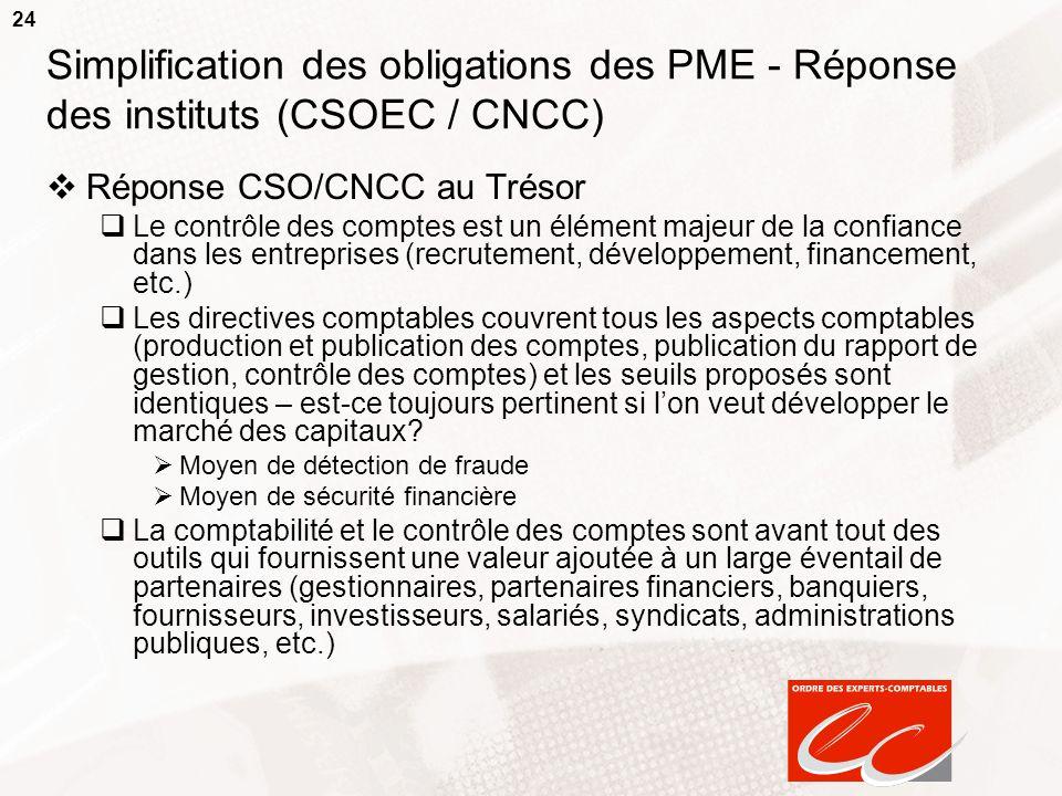 24 Simplification des obligations des PME - Réponse des instituts (CSOEC / CNCC) Réponse CSO/CNCC au Trésor Le contrôle des comptes est un élément maj