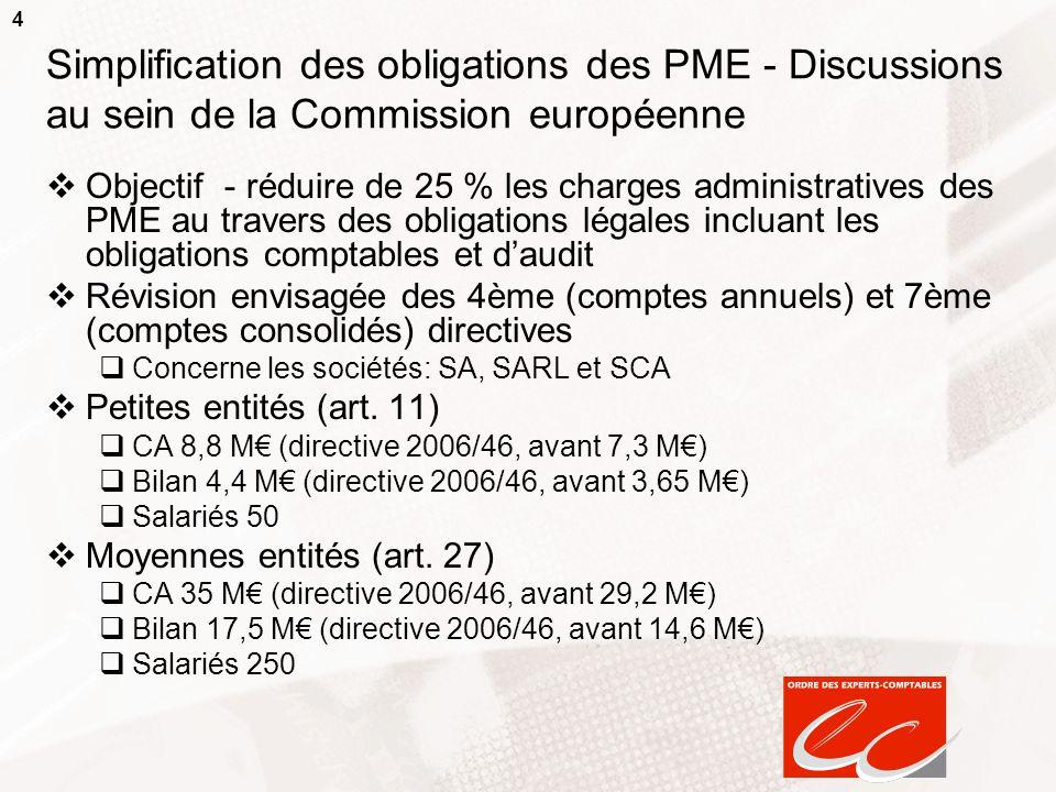 4 Simplification des obligations des PME - Discussions au sein de la Commission européenne Objectif - réduire de 25 % les charges administratives des