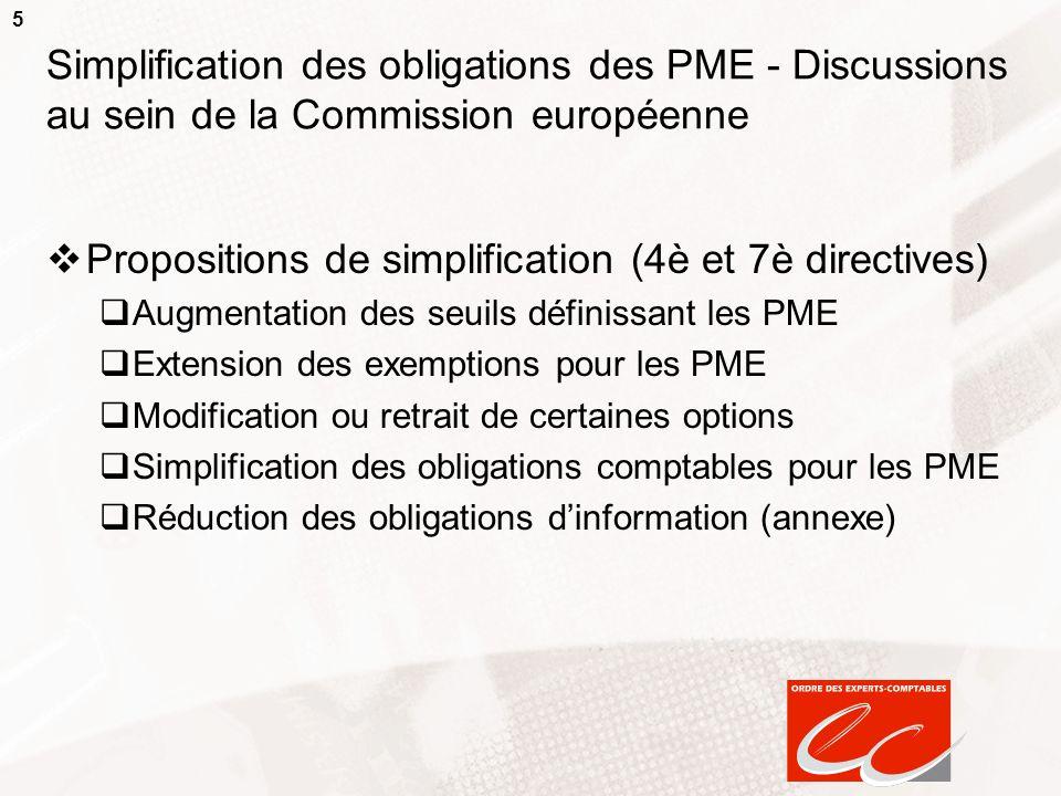 5 Simplification des obligations des PME - Discussions au sein de la Commission européenne Propositions de simplification (4è et 7è directives) Augmen