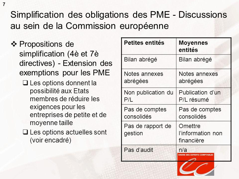 7 Simplification des obligations des PME - Discussions au sein de la Commission européenne Propositions de simplification (4è et 7è directives) - Exte