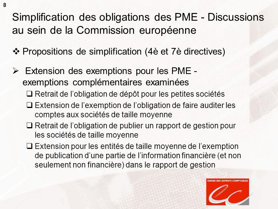 8 Simplification des obligations des PME - Discussions au sein de la Commission européenne Propositions de simplification (4è et 7è directives) Extens