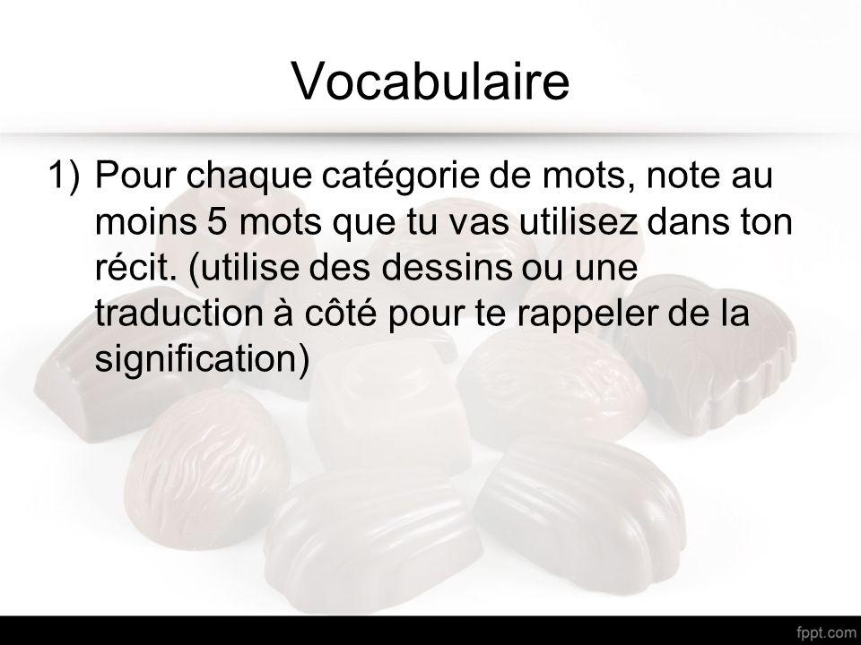 Vocabulaire 1)Pour chaque catégorie de mots, note au moins 5 mots que tu vas utilisez dans ton récit. (utilise des dessins ou une traduction à côté po