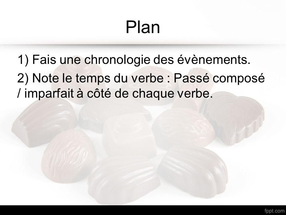 Plan 1) Fais une chronologie des évènements. 2) Note le temps du verbe : Passé composé / imparfait à côté de chaque verbe.