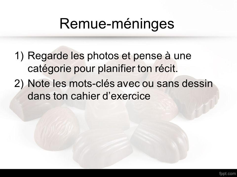 Remue-méninges 1)Regarde les photos et pense à une catégorie pour planifier ton récit. 2)Note les mots-clés avec ou sans dessin dans ton cahier dexerc