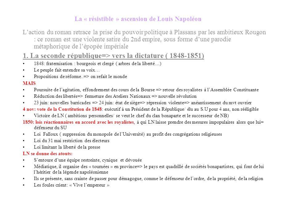 Une œuvre métaphorique: Rougon = Napoléon Les étapes de la « résistible ascension de Napoléon le petit » Une violente satire du Second Empire= parodie
