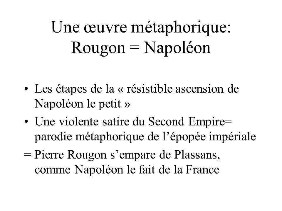 Une œuvre métaphorique: Rougon = Napoléon Les étapes de la « résistible ascension de Napoléon le petit » Une violente satire du Second Empire= parodie métaphorique de lépopée impériale = Pierre Rougon sempare de Plassans, comme Napoléon le fait de la France