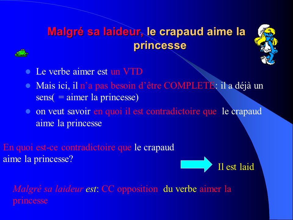 Le crapaud est tellement laid quil a fait peur à la princesse Le verbe ETRE ( laid) est un VI Il na pas besoin dêtre COMPLETE: il a déjà un sens on ve