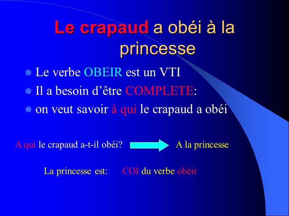 La princesse a vu le crapaud Le verbe voir a besoin dêtre COMPLETE: cest un VTD On veut savoir ce que la princesse a vu Qui la princesse a-t-elle vu??