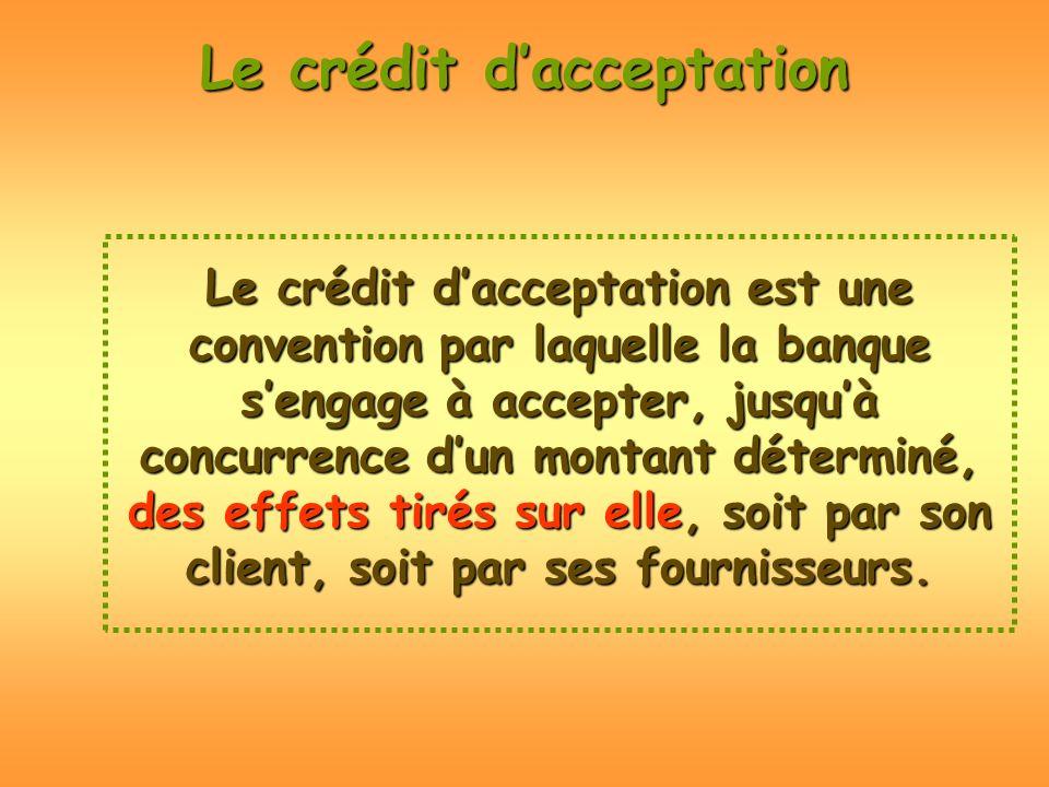 Le crédit dacceptation est une convention par laquelle la banque sengage à accepter, jusquà concurrence dun montant déterminé, des effets tirés sur el
