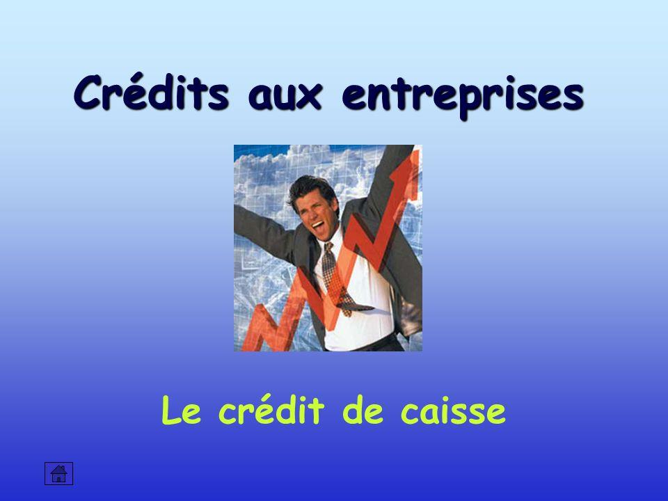 Crédits aux entreprises Le crédit de caisse