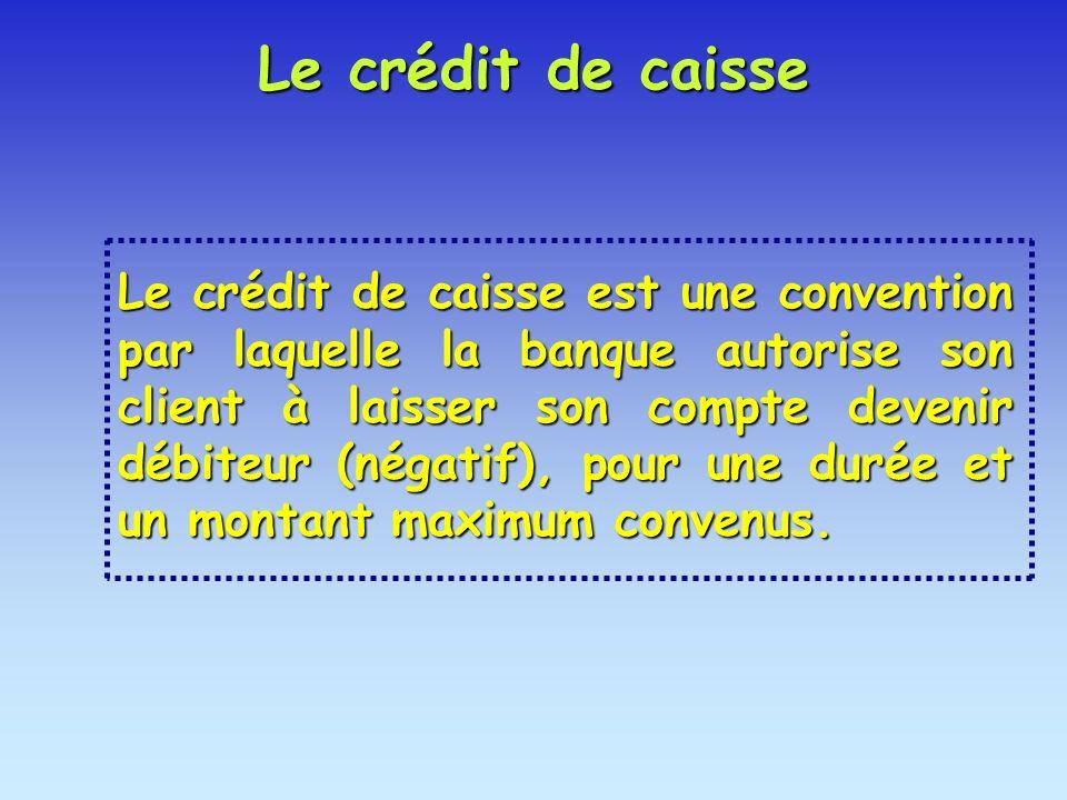 Le crédit de caisse est une convention par laquelle la banque autorise son client à laisser son compte devenir débiteur (négatif), pour une durée et u