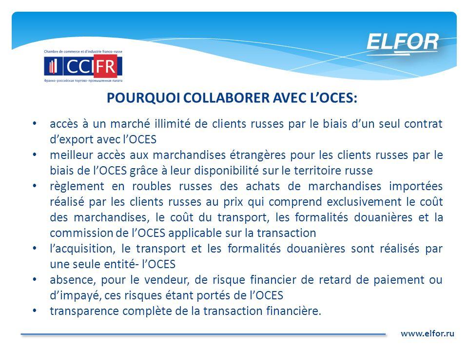 www.elfor.ru POURQUOI COLLABORER AVEC LOCES: accès à un marché illimité de clients russes par le biais dun seul contrat dexport avec lOCES meilleur ac