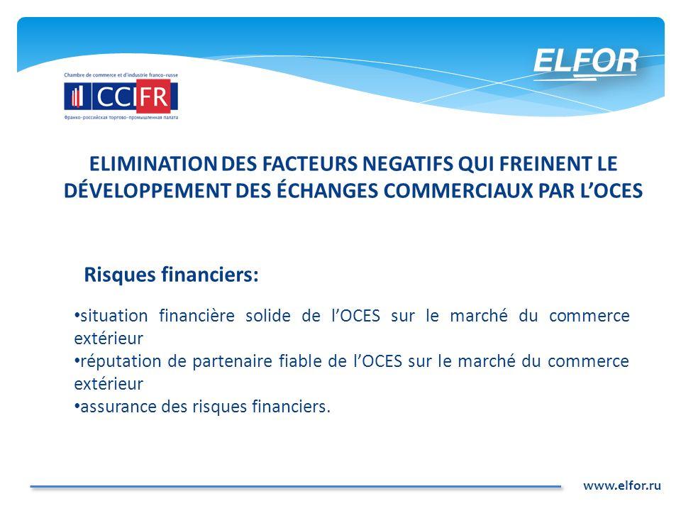 www.elfor.ru ELIMINATION DES FACTEURS NEGATIFS QUI FREINENT LE DÉVELOPPEMENT DES ÉCHANGES COMMERCIAUX PAR LOCES Risques financiers: situation financiè