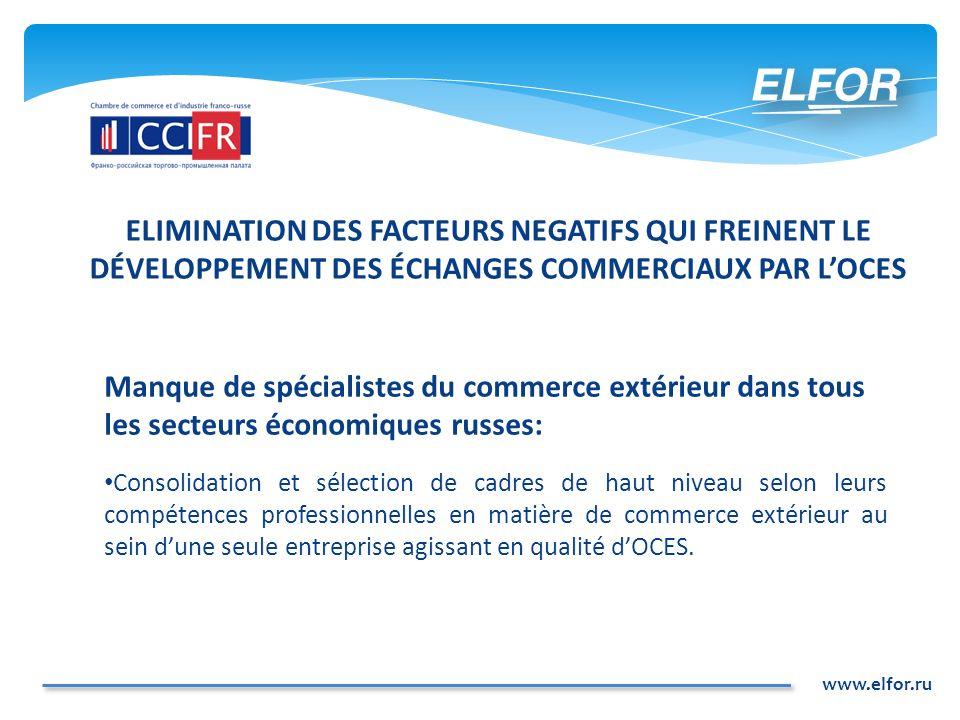 www.elfor.ru ELIMINATION DES FACTEURS NEGATIFS QUI FREINENT LE DÉVELOPPEMENT DES ÉCHANGES COMMERCIAUX PAR LOCES Manque de spécialistes du commerce ext