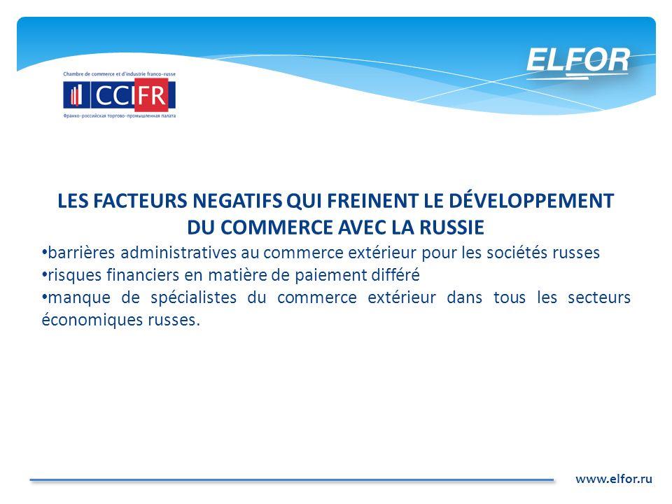 www.elfor.ru LES NOUVELLES OPPORTUNITÉS DE COMMERCE INTERNATIONAL AVEC LA RUSSIE Opérateur du Commerce Extérieur Spécialisé (OCES).