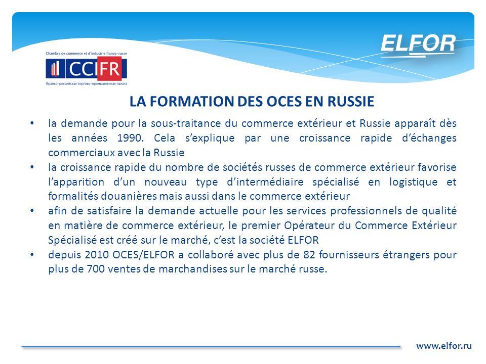 www.elfor.ru LA FORMATION DES OCES EN RUSSIE la demande pour la sous-traitance du commerce extérieur et Russie apparaît dès les années 1990. Cela sexp