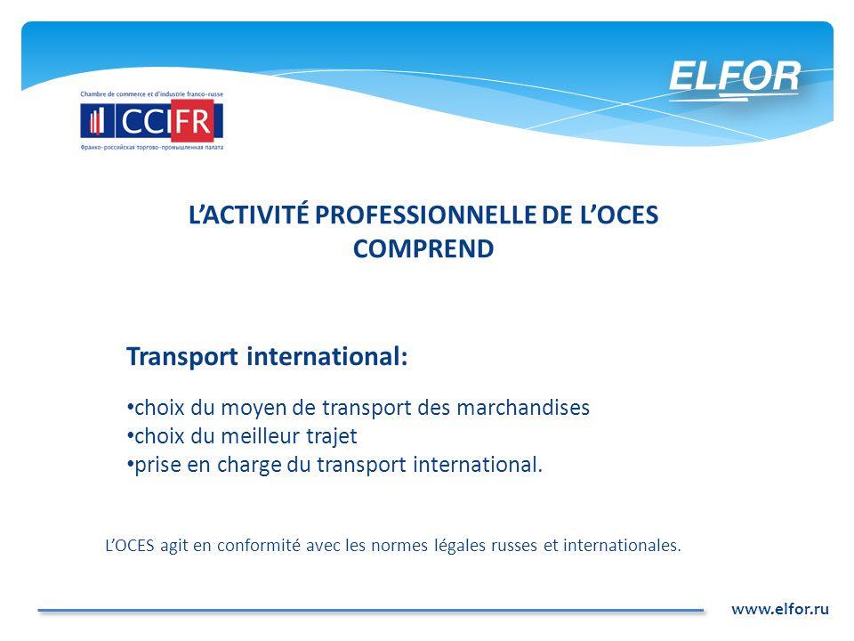 www.elfor.ru Transport international: choix du moyen de transport des marchandises choix du meilleur trajet prise en charge du transport international