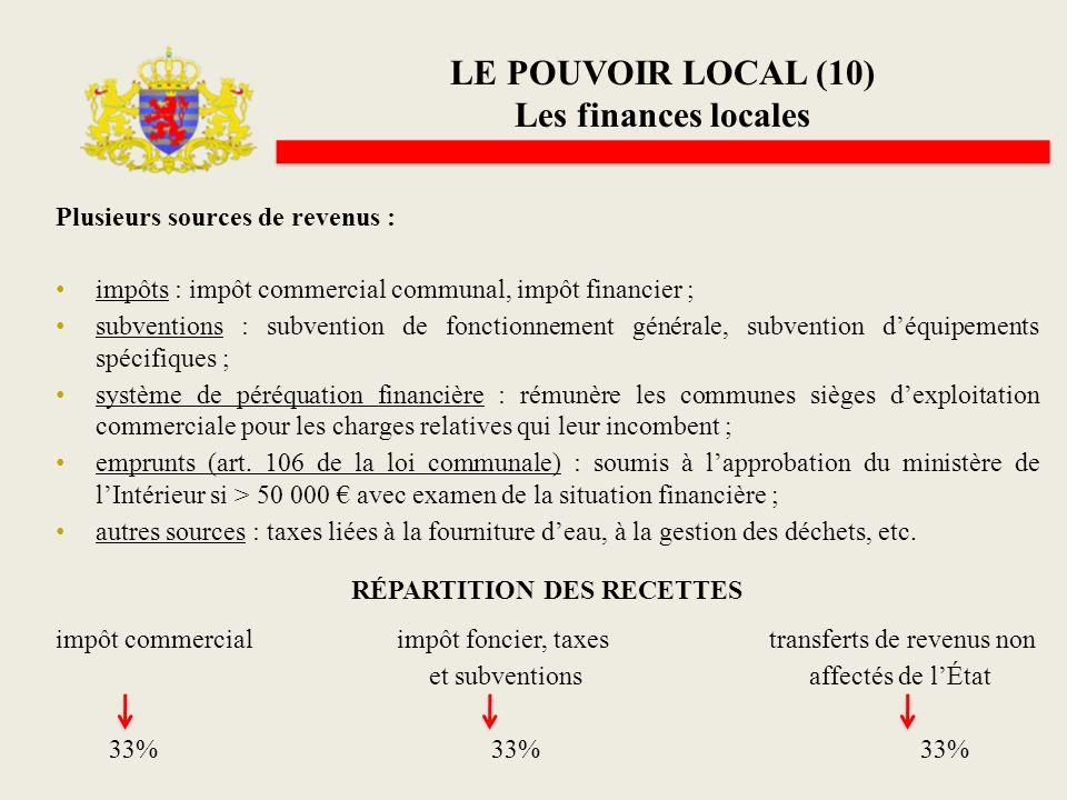 LE POUVOIR LOCAL (10) Les finances locales Plusieurs sources de revenus : impôts : impôt commercial communal, impôt financier ; subventions : subventi