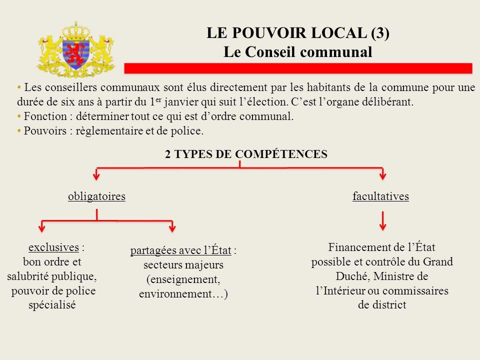 LE POUVOIR LOCAL (3) Le Conseil communal Les conseillers communaux sont élus directement par les habitants de la commune pour une durée de six ans à p