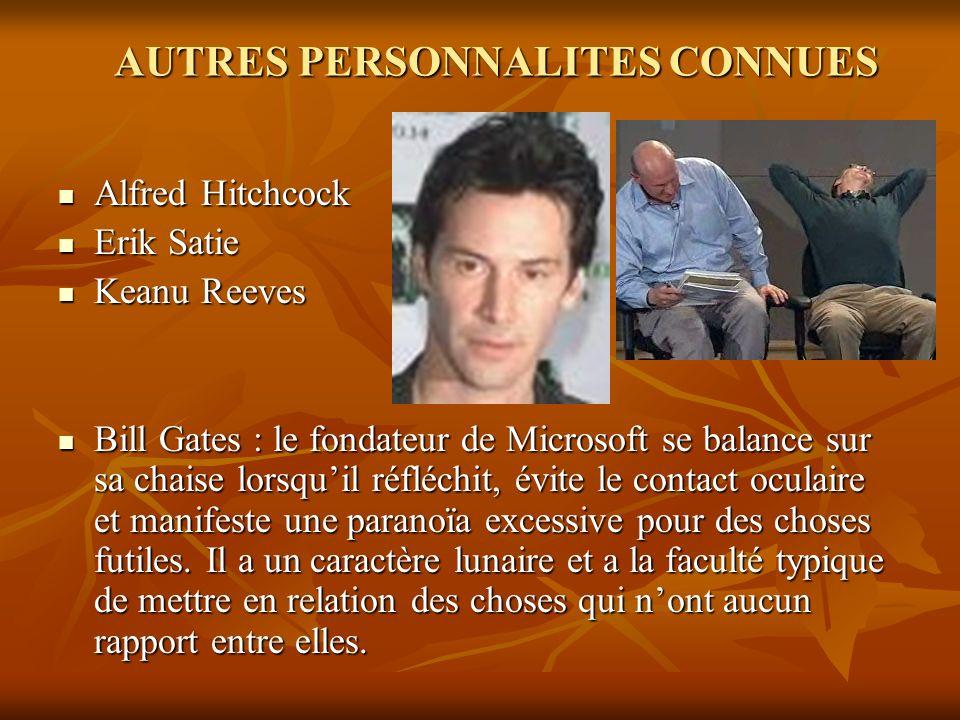 AUTRES PERSONNALITES CONNUES Alfred Hitchcock Alfred Hitchcock Erik Satie Erik Satie Keanu Reeves Keanu Reeves Bill Gates : le fondateur de Microsoft
