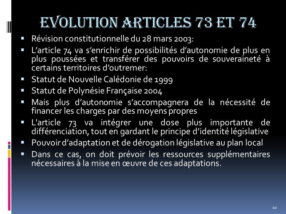 EVOLUTION ARTICLES 73 et 74 Révision constitutionnelle du 28 mars 2003: Larticle 74 va senrichir de possibilités dautonomie de plus en plus poussées e