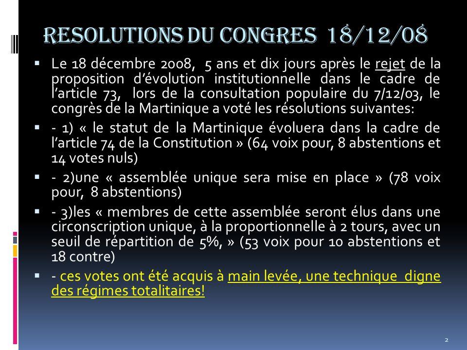 RESOLUTIONS DU CONGRES 18/12/08 Le 18 décembre 2008, 5 ans et dix jours après le rejet de la proposition dévolution institutionnelle dans le cadre de