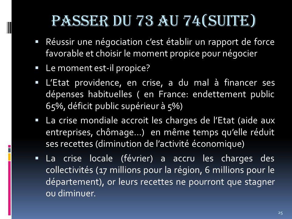 Passer du 73 au 74(suite) Réussir une négociation cest établir un rapport de force favorable et choisir le moment propice pour négocier Le moment est-