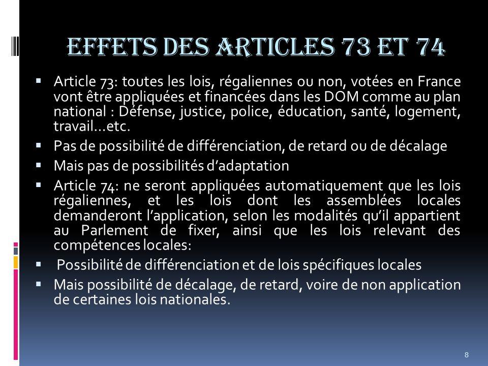EFFETS DES ARTICLES 73 et 74 Article 73: toutes les lois, régaliennes ou non, votées en France vont être appliquées et financées dans les DOM comme au