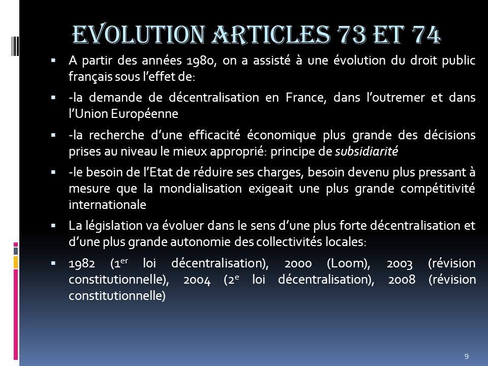 EVOLUTION ARTICLES 73 et 74 A partir des années 1980, on a assisté à une évolution du droit public français sous leffet de: -la demande de décentralis