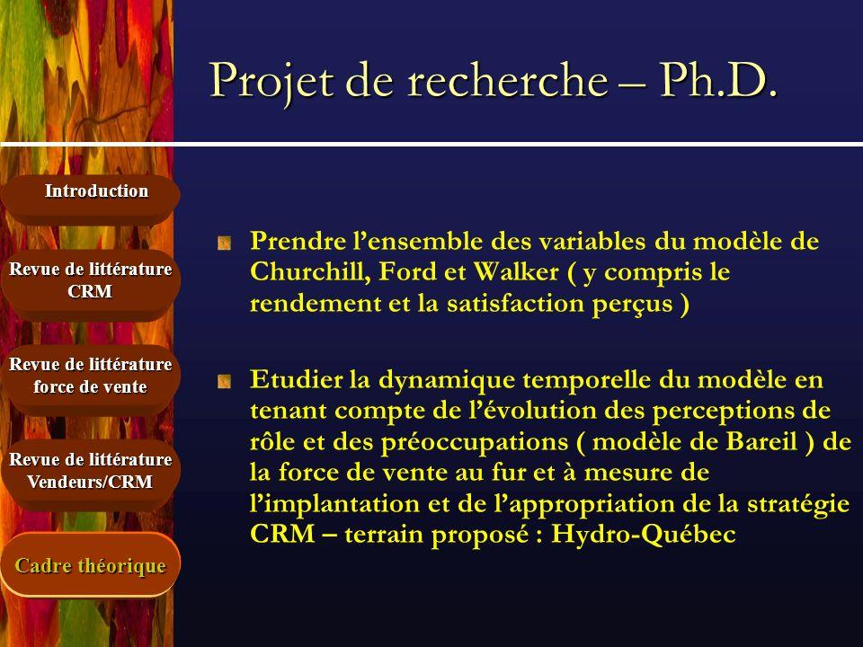 Introduction Cadre théorique Revue de littérature force de vente Revue de littérature CRM Vendeurs/CRM Projet de recherche – Ph.D. Prendre lensemble d