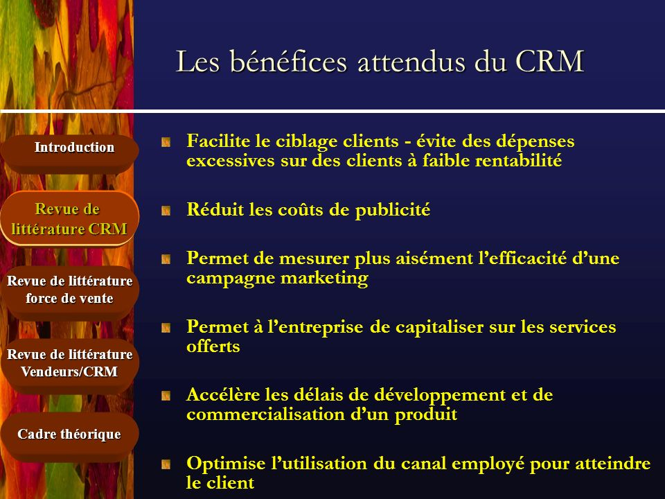 Introduction Cadre théorique Revue de littérature force de vente Revue de littérature CRM Vendeurs/CRM Les bénéfices attendus du CRM Facilite le cibla