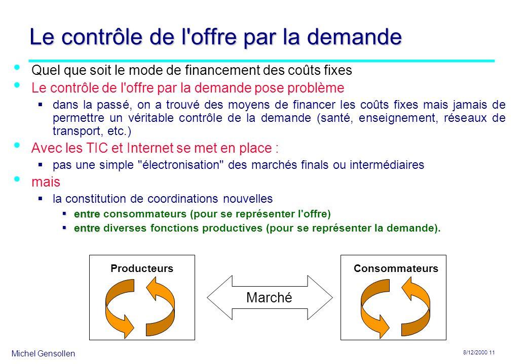 Michel Gensollen 8/12/2000 11 Le contrôle de l'offre par la demande Quel que soit le mode de financement des coûts fixes Le contrôle de l'offre par la