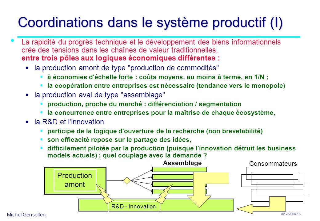Michel Gensollen 8/12/2000 15 Coordinations dans le système productif (I) La rapidité du progrès technique et le développement des biens informationne
