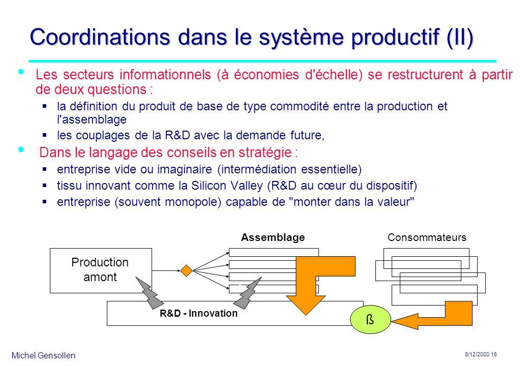 Michel Gensollen 8/12/2000 16 Coordinations dans le système productif (II) Les secteurs informationnels (à économies d'échelle) se restructurent à par