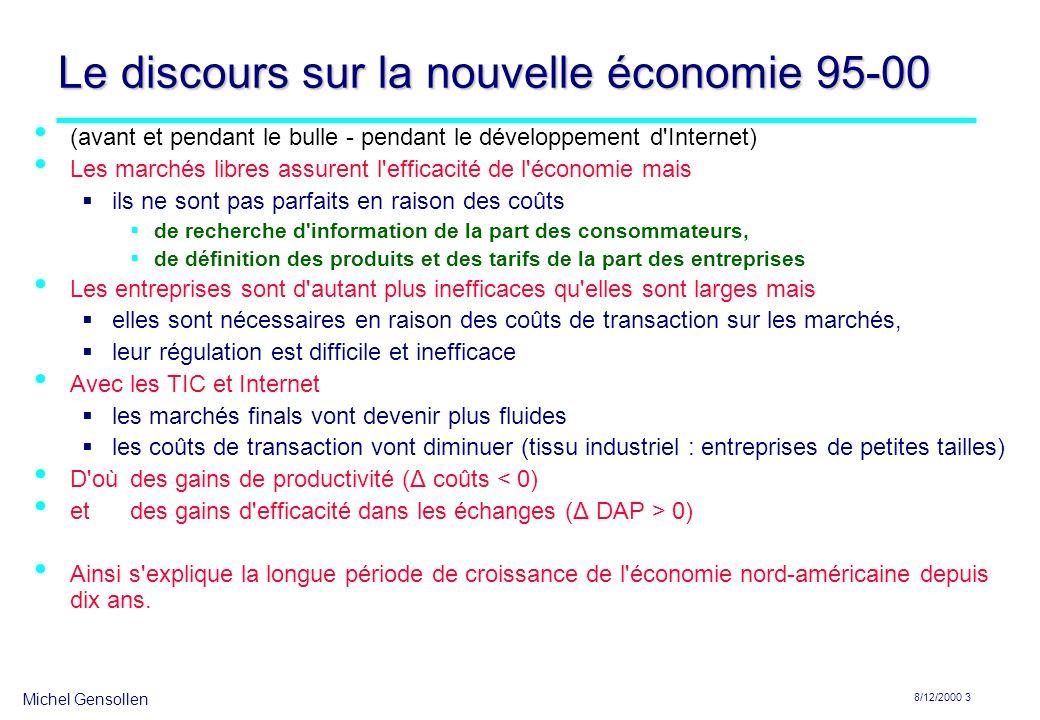 Michel Gensollen 8/12/2000 3 Le discours sur la nouvelle économie 95-00 (avant et pendant le bulle - pendant le développement d'Internet) Les marchés