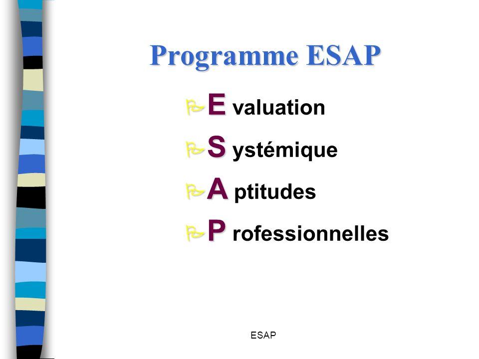 ESAP Programme ESAP P E P E valuation P S P S ystémique P A P A ptitudes P P P P rofessionnelles