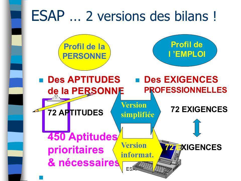 ESAP ESAP … 2 versions des bilans ! n Des APTITUDES de la PERSONNE n Des APTITUDES de la PERSONNE 72 APTITUDES 450 Aptitudes prioritaires & nécessaire