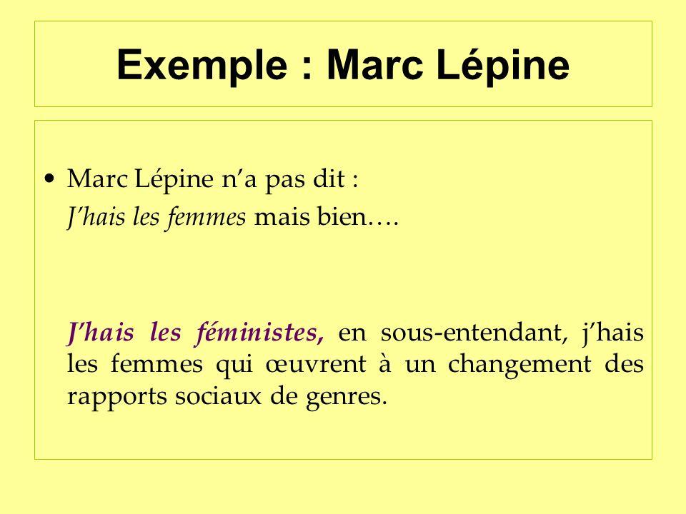 Exemple : Marc Lépine Marc Lépine na pas dit : Jhais les femmes mais bien…. Jhais les féministes, en sous-entendant, jhais les femmes qui œuvrent à un