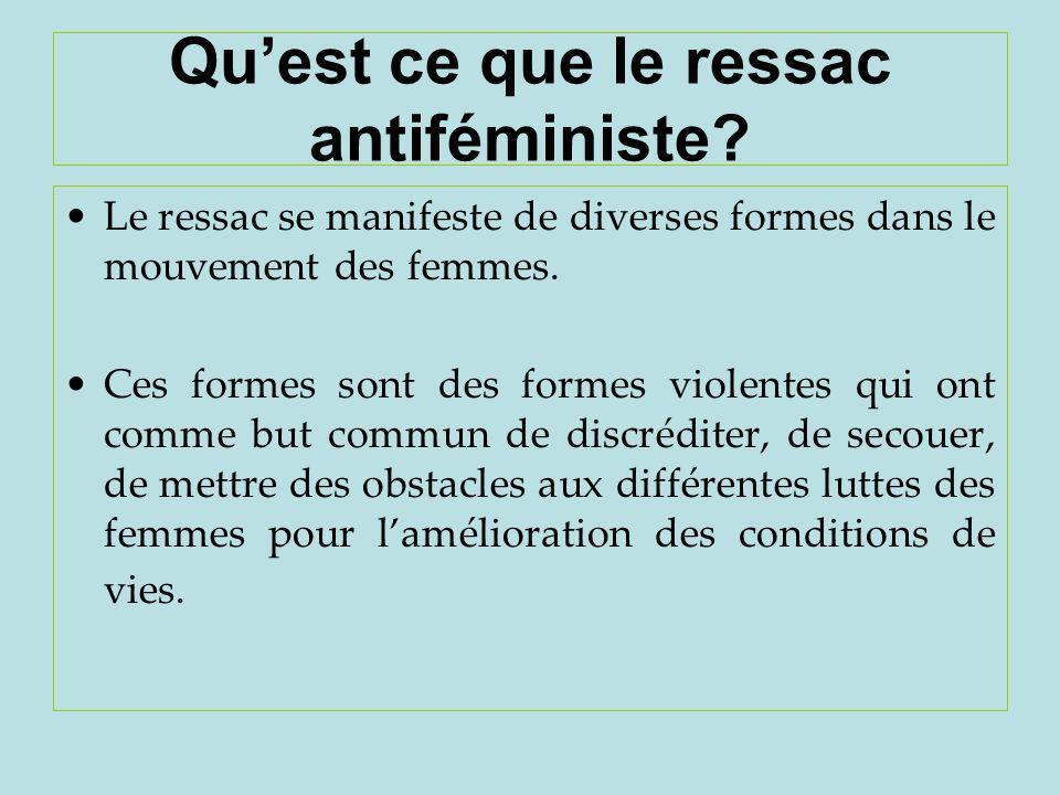 Quest ce que le ressac antiféministe? Le ressac se manifeste de diverses formes dans le mouvement des femmes. Ces formes sont des formes violentes qui