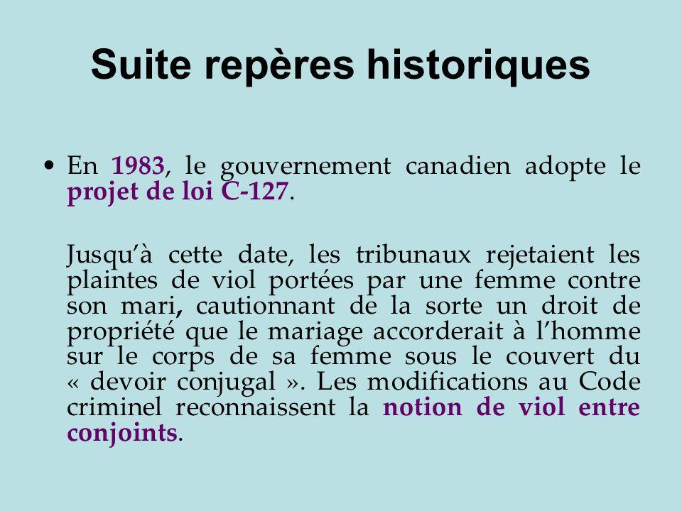 Suite repères historiques En 1983, le gouvernement canadien adopte le projet de loi C-127. Jusquà cette date, les tribunaux rejetaient les plaintes de