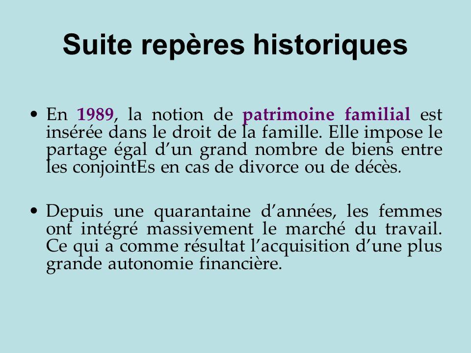 Suite repères historiques En 1989, la notion de patrimoine familial est insérée dans le droit de la famille. Elle impose le partage égal dun grand nom