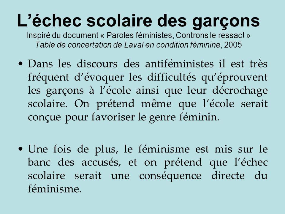 Léchec scolaire des garçons Inspiré du document « Paroles féministes, Controns le ressac! » Table de concertation de Laval en condition féminine, 2005