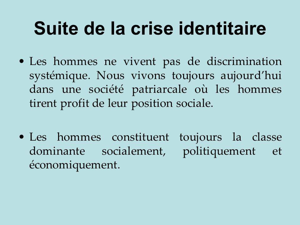 Suite de la crise identitaire Les hommes ne vivent pas de discrimination systémique. Nous vivons toujours aujourdhui dans une société patriarcale où l