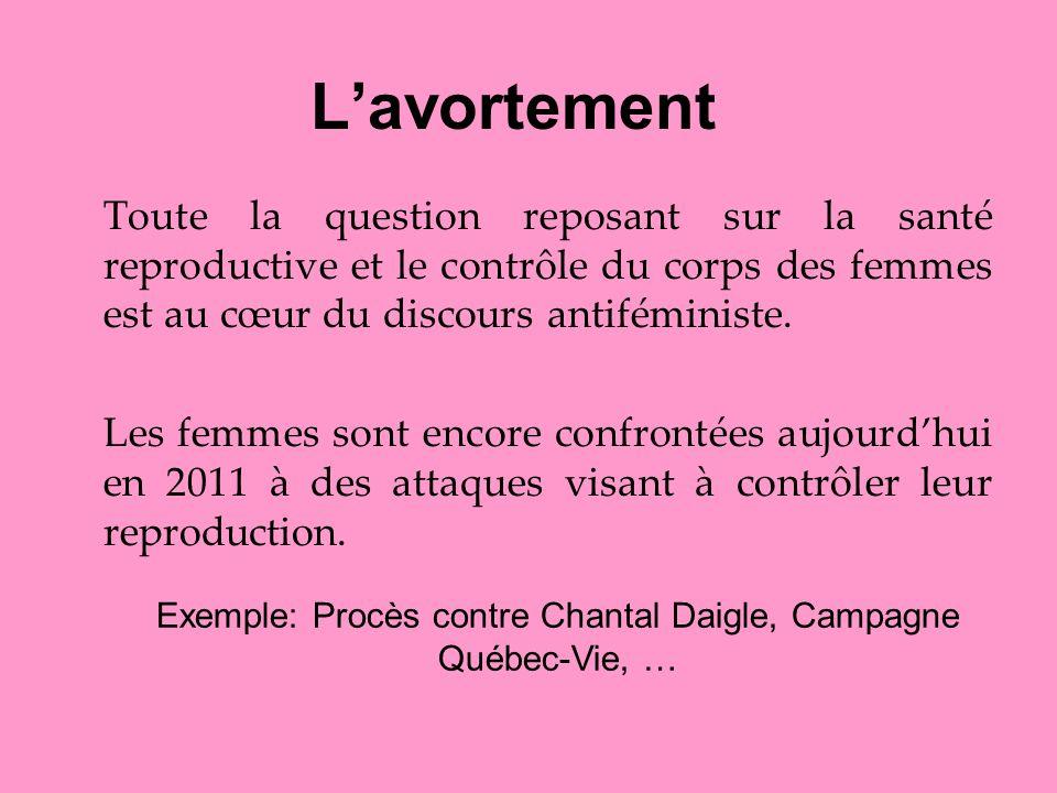 Lavortement Toute la question reposant sur la santé reproductive et le contrôle du corps des femmes est au cœur du discours antiféministe. Les femmes