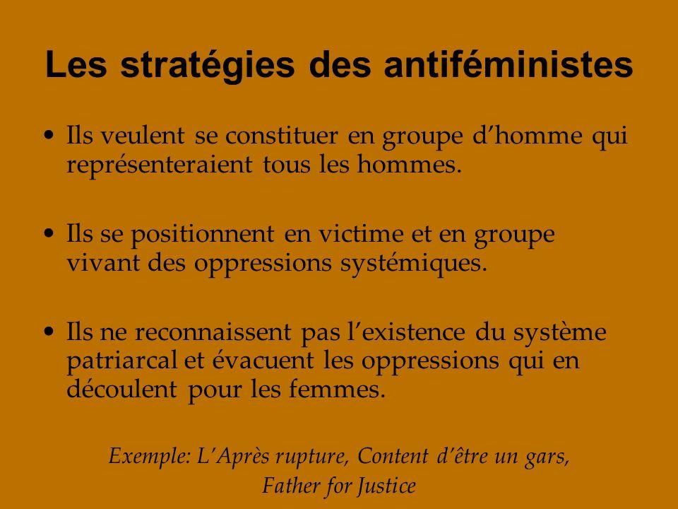 Les stratégies des antiféministes Ils veulent se constituer en groupe dhomme qui représenteraient tous les hommes. Ils se positionnent en victime et e