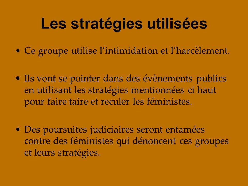Les stratégies utilisées Ce groupe utilise lintimidation et lharcèlement. Ils vont se pointer dans des évènements publics en utilisant les stratégies